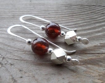 Genuine Hessonite Garnet Fine Silver Dangle Handmade Earrings
