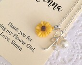 Sunflower flower girl necklace, initial, child necklace, personalized, comes with personalized card and ORGANZA bag.