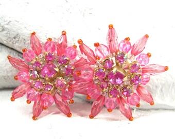 Vintage Pink Beaded Rhinestone Earrings Unsigned Designer Sewn Clip On