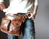 Thick Caramel Belt Bag, 4 Pocket Belt Bag, Bum Bag, Waist Bag, Leather Pouch, Hippie Bag, Festival Bag, Utility Belt, Shoulder Bag Hip Purse