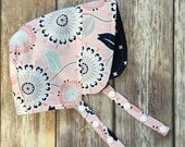 Reversible Designer Cotton Baby Toddler Trendy Sun Hat Bonnet - pink navy floral polka dot