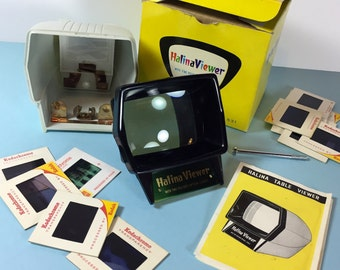 Halina Viewer - Two Optical Lenses - Slide Viewer - For Colour Slides - 1970s - Original Box