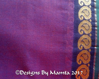 Purple Sari Fabric With Paisley Border, Sheer Lightweight Cotton, Belly Dance Fabric, Drapery Fabric, Sari Curtain Fabric, Madras Cotton