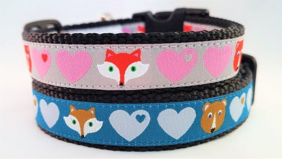 Foxes and Bears - Dog Collar / Handmade / Adjustable / Hearts/ Pet Lover / Gift Idea