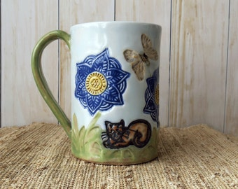 Blue Mandala Pottery Coffee Mug - Handmade Ceramic Mug with Cat and Butterflies - 14 Ounces by Botanic2Ceramic - 250