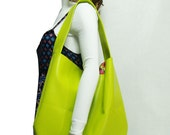 New! Bright Lime Green Handbag, Tropical Key Lime faux leather hobo shoulder bag, Caribbean travel bag