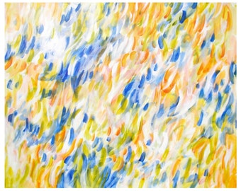 Large Abstract Painting, Original Acrylic on 24x30 Canvas Wall Art, orange blue white green, Weightless Wonder 1 by Jessica Torrant