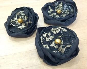 Flower Brooches - Set of Three - Black Gold Flowers - Black Flower Brooch - Hat Flowers - Flower Barrettes - Flower Brooch - Handmade in USA