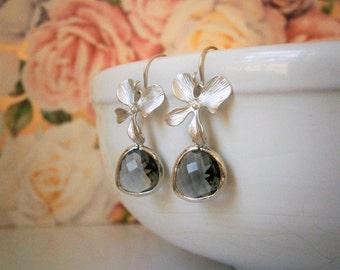 Silver Earrings, Gray Earrings, Bridesmaid, Mom, Wife, Sister, Wedding, Grey, Best Friend, Girlfriend