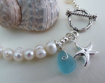 White Pearl & Sea Glass Bracelet - Genuine English Seaglass - Sterling Silver Starfish and Toggle Clasp - PURITY