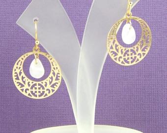 Rose Quartz Earrings, Gold Disc Earrings, Filigree Drop Earrings