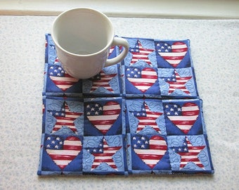 red white and blue hearts and stars patriotic hand quilted set of mug rugs coasters