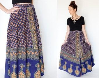 vintage bohemian INDIAN block print MAXI wrap skirt S-M