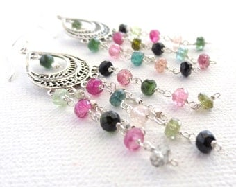 Sterling Silver Chandelier Earrings. Watermelon Tourmaline Chandelier Earrings. October Birthstone Earrings