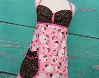 Women's Apron - Cupcakes - Pink & Brown