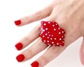 Lip Ring Polka Dot Ceramic Ring - statement ring, lip art, big ring, ceramics and pottery, handmade by StudioLeanne