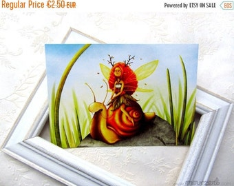 Spring cleaning sale Snail riding - Postcard