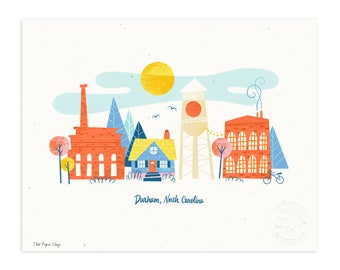 Durham, North Carolina Illustrated Art Print