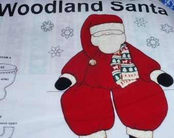 Christmas Woodland Santa Panel  100% Cotton Fabric by Cranston Collections