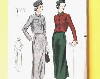 Factory Folded Vogue 6671 Suit Early 1950's Fitted Bolero, Triple Flaps, Slim Skirt, Inverted Pleat  Vintage Sewing Pattern Bust 36