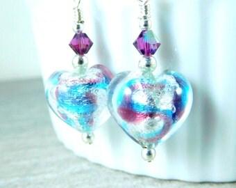 Small Heart Dangle Earrings, Murano Earrings, Purple Blue Silver Earrings, Simple Jewelry, Heart Jewelry, Venetian Murano Glass Earrings