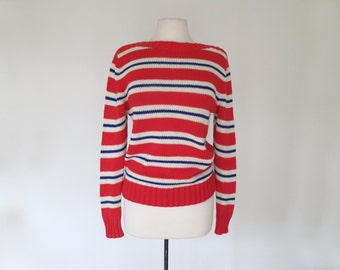 BREATHLESS // red cream and blue chic boatneck sweater