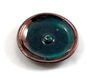 INCENSE BURNER Raku Handmade Ceramic Pottery