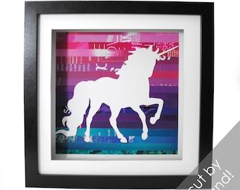 Unicorn shadowbox- made from recycled magazines, creature, purple, pink, teal, horn, beautiful, mythology, nursery art, girls room, beauty