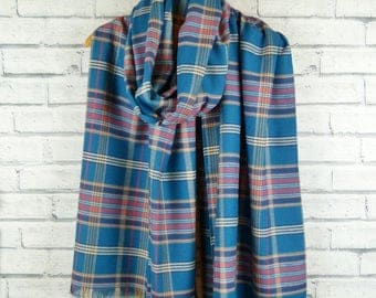 Oversized Fringed Cotton Scarf - blue and pink plaid, blanket scarf, frayed scarf