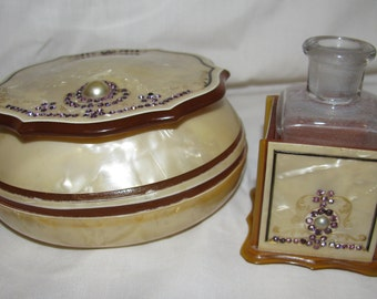 2 Piece Pearlized Celluloid Dresser Powder  Box and Perfume Bottle Holder Detailed with Rhinestones and Pearls Excellent