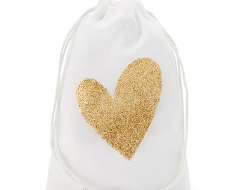 Gold Glitter Heart Muslin Drawstring Favor Bag Muslin Favor Bags - Medium (set of 12)  vintage theme Wedding, reception baby shower