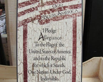 Pledge Of Allegiance Wall Art,Patriotic Wall Art, God Bless America,Wooden Art Sign,9x18,Linda Spivey