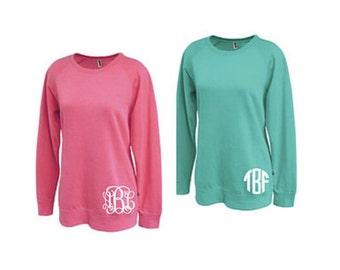 Super soft long monogrammed sweatshirt, monogrammed shirt, monogrammed crewneck sweatshirt