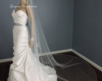 Mantilla Style Wedding Veil Cathedral or Chapel Lengths Single Tier with Soft Satin Rattail Edge CHX108RE