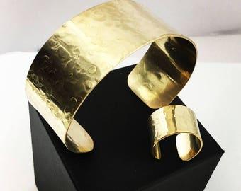 Bracelet Ring Set, Hammered Jewelry Set, 14k Set, Champagne Set, Cuff bracelet, cuff ring