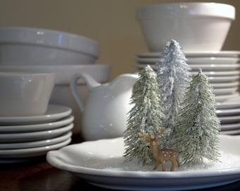 Winter Scene on Ironstone * Christmas * snow * deer * winter vignette