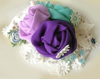 Fascinator, Fabric Brooch, Pin fabric brooch, Bridal corsage, Boho wedding, Boho corsage, Flower brooch, Chiffon flowers, Art to wear, Gift
