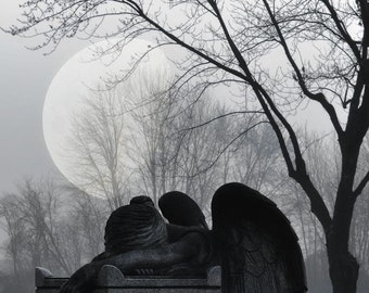 "Surreal gothic angel photography dark blue black grey night moon ethereal - ""Sleeping angel"" 8 x 10"