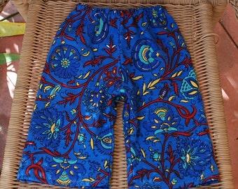 Downward Dog Yoga Hippie Kids pants -Size 6- mths or older- Blue flowers -Boys or Girls- Read measurements