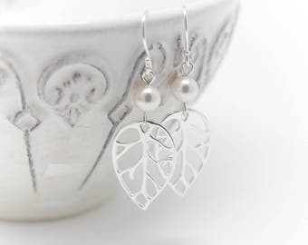 Bridal Jewelry Leaf and Pearl Sterling Silver Wedding Earrings, Choice of Pearl Color