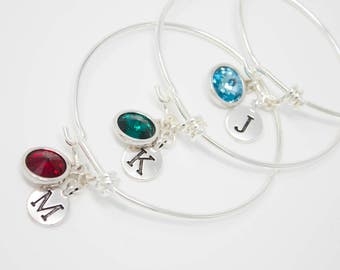 Birthstone Bracelet, Crystal and Initial Silver Bangle Bracelet, Choose Your Birthstone Color and Initial