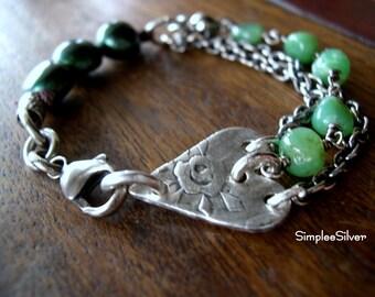 Heart Bracelet  -  Sterling Silver Chain Bracelet  -Gemstone Bracelet  - Pearl Bracelet  - SimpleeSilver  -Rustic Heart Jewelry