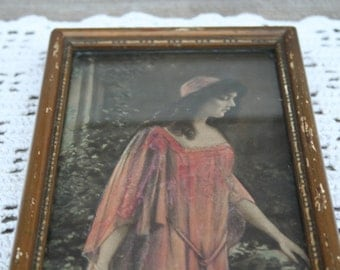 Rare Antique Late 1910's Victorian Woman Wall Picture