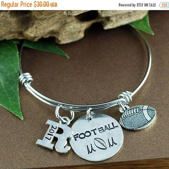 15% OFF SALE Football Mom Bracelet, Personalized Sports Bracelet, Mom Jewelry, Mothers Day Gift, Initial Bracelet, Football Jewelry, Team Mo