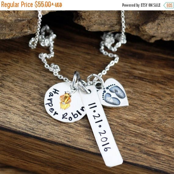 15% OFF SALE New Mom Necklace, Personalized Mom Necklace, Baby Name Necklace, Baby Feet Necklace, Birthstone Necklace, Gift for Mom, Push Pr