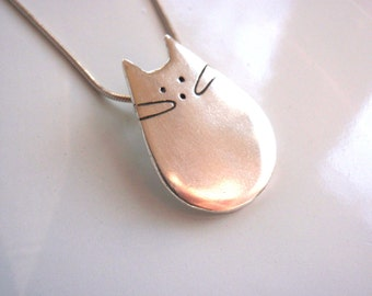 Cat Jewelry Unique Cat Pendant of Pure Silver Modern Minimalist
