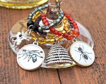 Insect Wine Charms - Bug Charms - Wasp - Hive - Ant - Spider Beaded Wine Charm Set - Wine Jewelry - Set of 4
