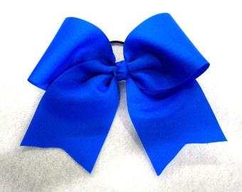 Cheer Bows, Blue Cheer Bow, Girls Cheer Bows, Electric Blue Bow, Team Bows, Dance Bows, Cheerleader Bows, 7 inch bow, Practice Cheer Bows
