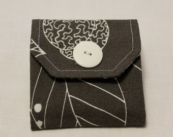 Sticky Note Holder-Gray and White Leaf Print