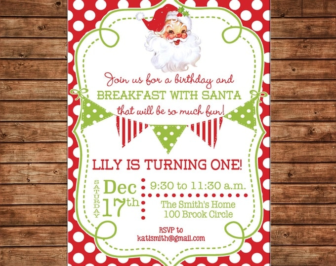 Holiday Christmas Retro Vintage Santa Breakfast Birthday Bunting Whimsical Red Green Invitation - DIGITAL FILE